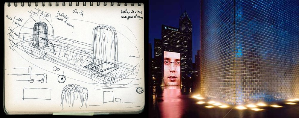 Jaume Plensa's sketch and the completed Crown Fountain. Sketch courtesy of Jaume Plensa, Photo Credit Steve Hall Hedrich Blessing