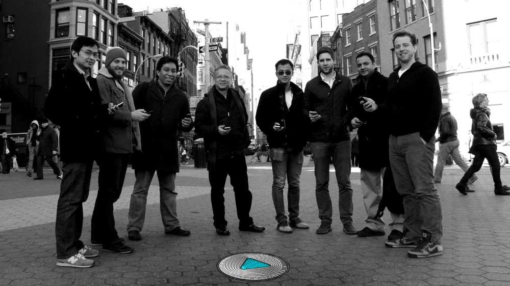 The NYC DataWell Team   Miguel Javier, Johnathan Kroeger, Joel Natividad, Eric Chan, Hao Huang, Simon Enever, Sami Baig, Silas Warren.  Not in picture, Sarah Dierck.