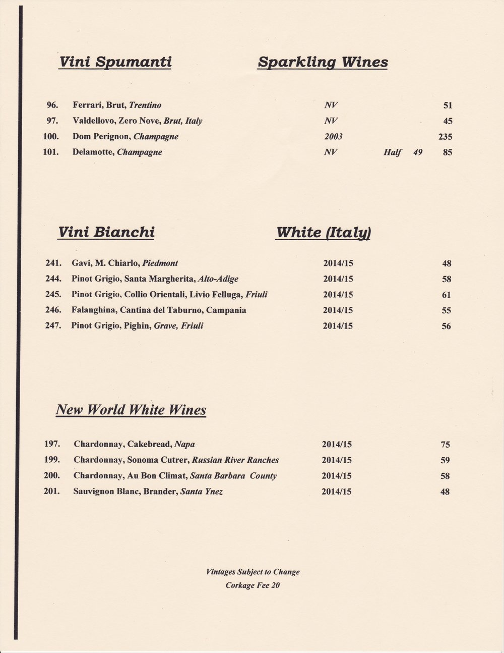 Vinoteca wine and beer bar wine menu featuring white wines