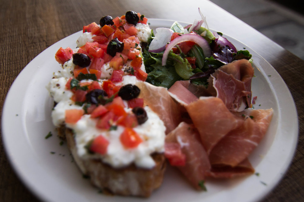 Plate of Bruschetta prepared napoletana style