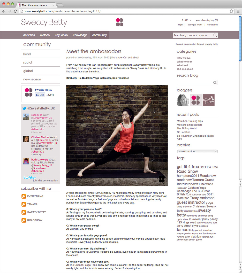 Sweaty Betty Blog Feature, April 2013