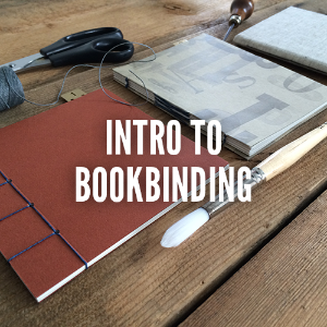 Intro to Bookbinding  There are many ways to bind a book, and we'll teach you some of the most fun! In this 3 hour class you'll become friends with paper, glue, needle and thread to create your own handmade books. Some of the techniques we cover in class are hard and soft cover pamphlet stitch books, exposed soft cover books, accordion style bindings and stab bindings. The classes main focus is on making bookbinding easy and accessible for everyone. $75