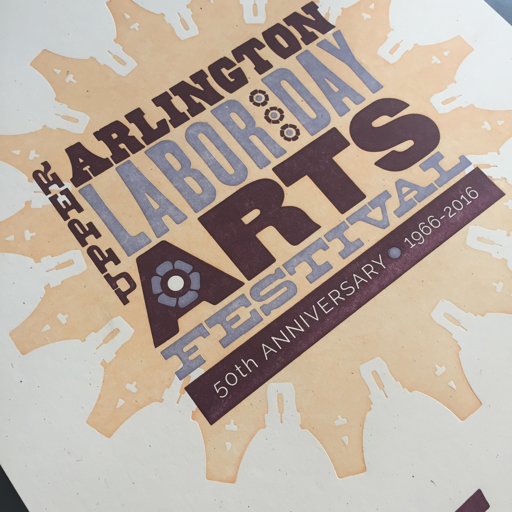 This poster takes inspiration from wood type, which historically has no impression. You'll see the use of large areas of color and overprinting, both choices that turn out beautifully but are not meant to encourage an impression in the final piece. Designed for  UA Labor Day Arts Festival.