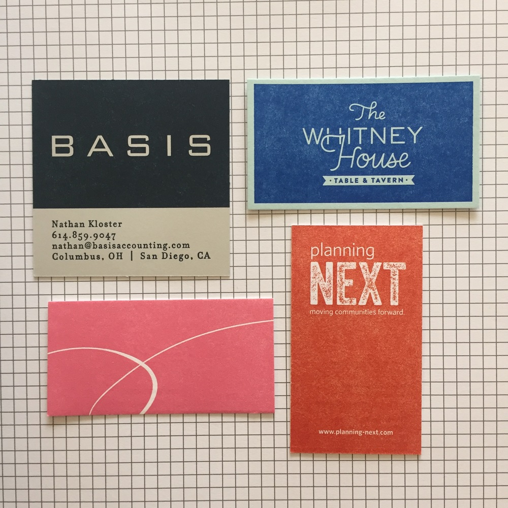 These cards are all created using woodpulp stocks from French Paper Company, which allows for a beautiful consistent flood on the smooth surface. Cards by Basis Accounting, The Whitney House (design by Imaginary Beast), Pamlico, and Next.