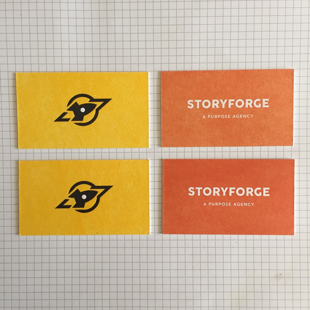 This shows the range of coverage that we can get in a single card run, from lighter to more solid. The client can specify the tolerance for range during the press check. Cards by Rocketcode and Storyforge.