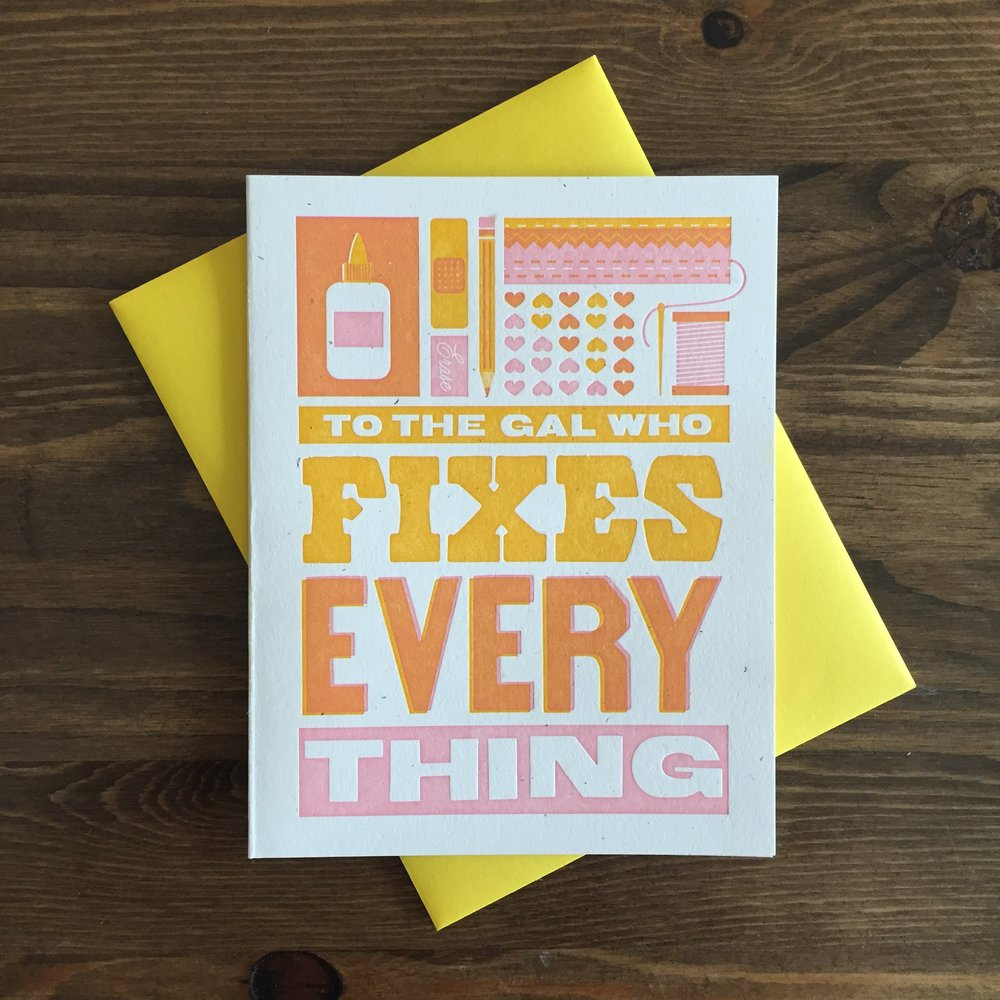 Gal Who Fixes Everything Motheru0027s Day Letterpress Card