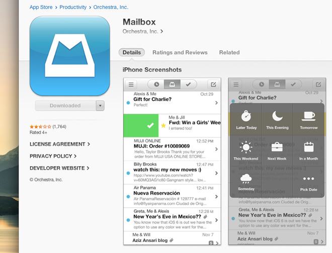 Mailbox averages 2,5 stars on the iTunes Store.