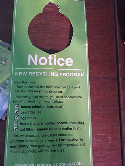 The fake recycling notice that baffled Brisbane.