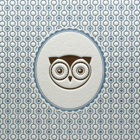 letterpress owl card