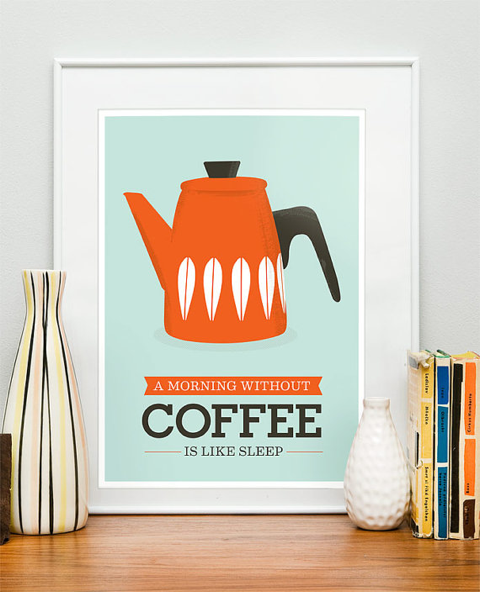 no coffee retro poster