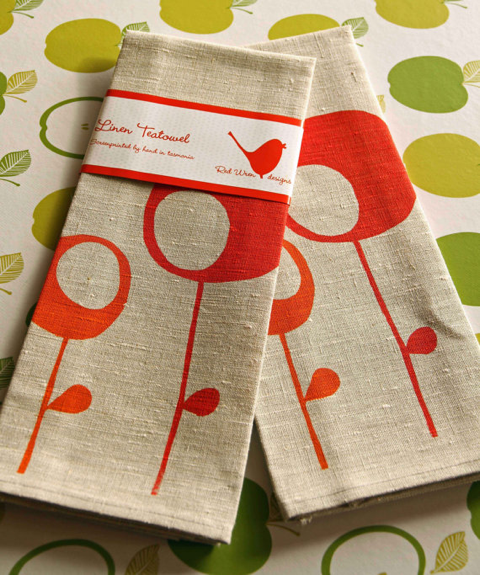 retro trees linen tea towel - red wren designs