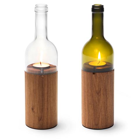 wine bottle tea light holder