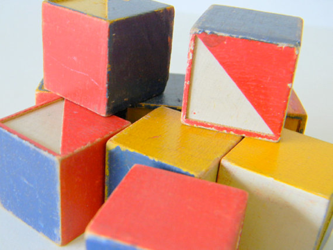 wood blocks with triangle colors
