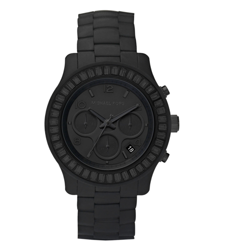 flat black silicone watch