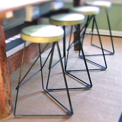 concrete and steel coleman stool