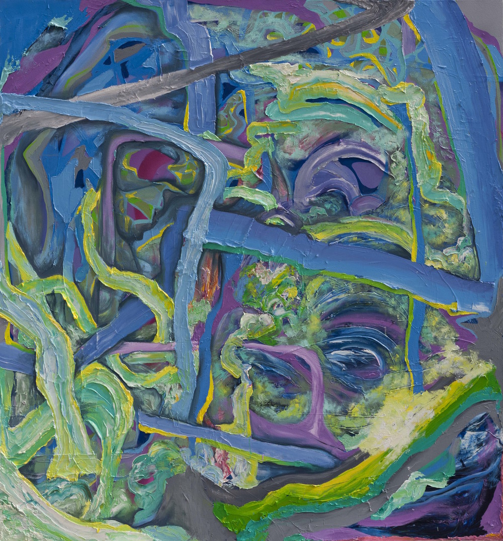 "Stream Litter, oil on canvas, 76"" x 70"", 2015"