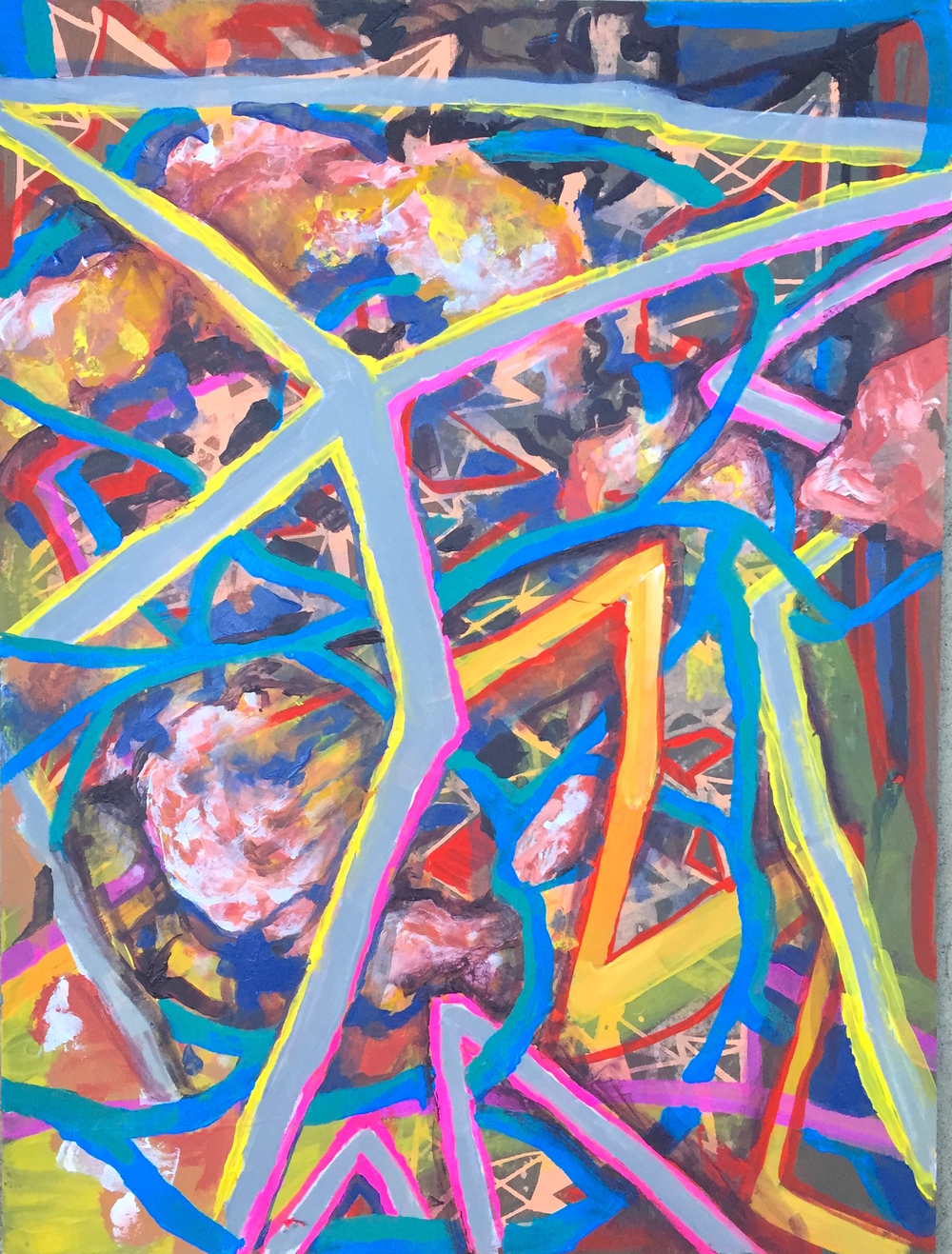 "Zipline Tangle, mixed media on paper, 24"" x 18"", 2015"