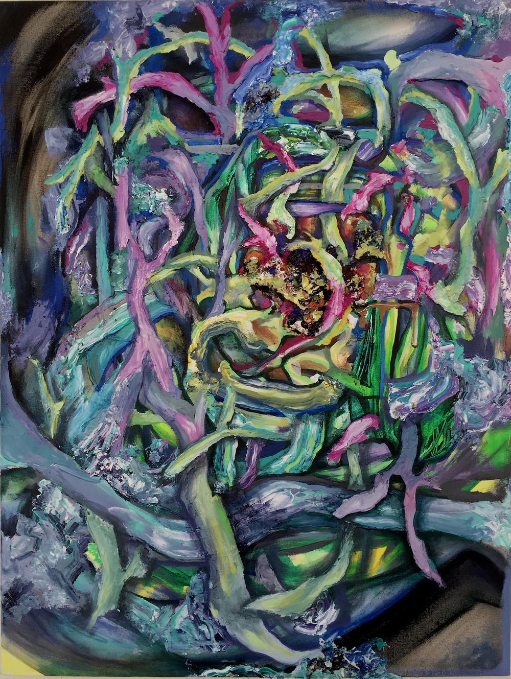 "Tendril Glitch, Acrylic on Canvas, 42"" x 36"", 2015"