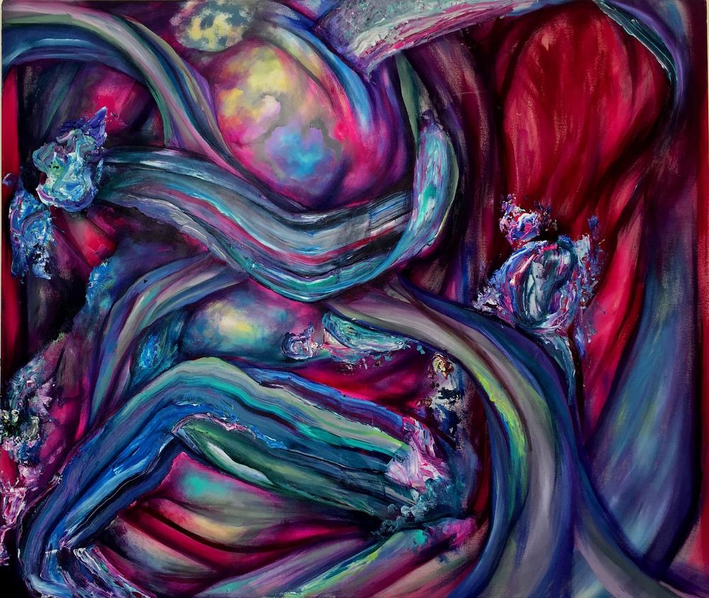 """Central Sediment, acrylic on canvas, 50"""" x 59"""", 2016"""