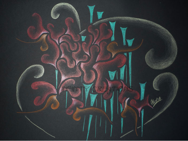 Composition Three  A3 Black paper, unframed  $200