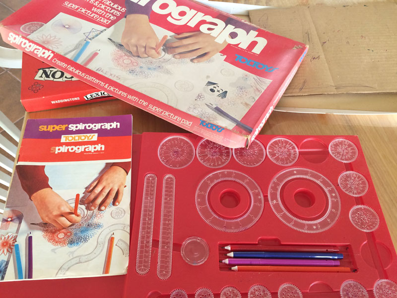 This is one of my most prized possessions when I was young. I was so fascinated with the thousands of pattern possibilities with this set of Spirograh. This is where my obsession with pattern design started... and I didn't even realise it until I found it again.