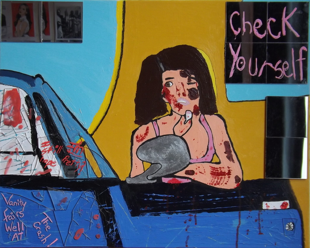 Vanity fairs well at the crash     Acrylic, glass and mirrors on canvas (2013)