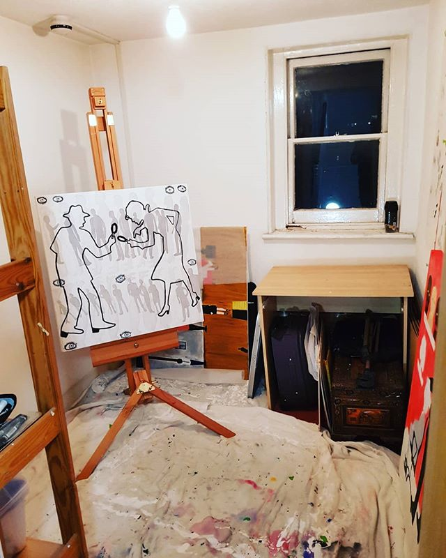 Finally tidied up my studio. Now for some painting. #TheRealEvieJ #londonartist #artiststudio
