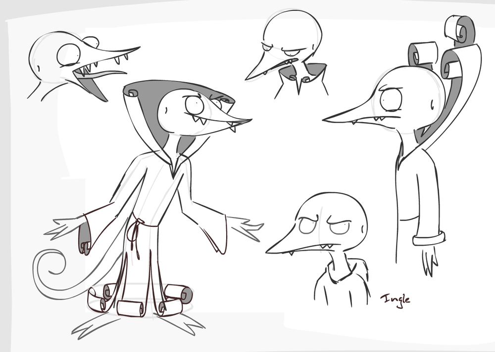 Angles and outfit concepts for an albino bird-lizard leader of a cinnamon-worshipping cult.