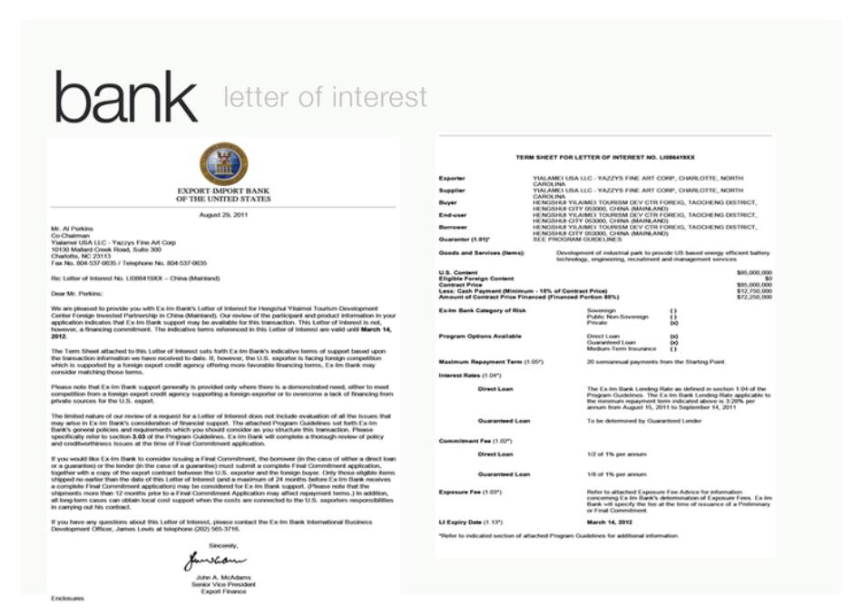 Bank letter of Interest - Click to Enlarge