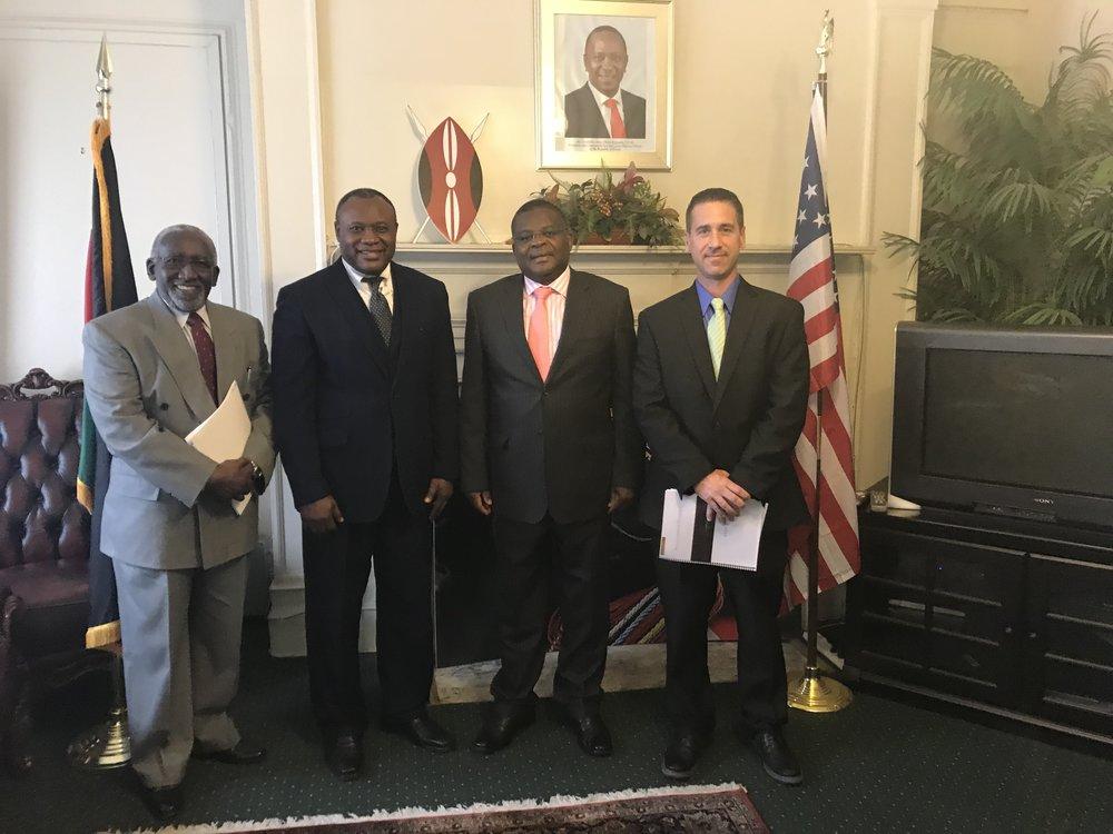 Dr. Gatabki, Thomas, His Excellency Robinson Githe, Ambassador to Kenya, and Brian