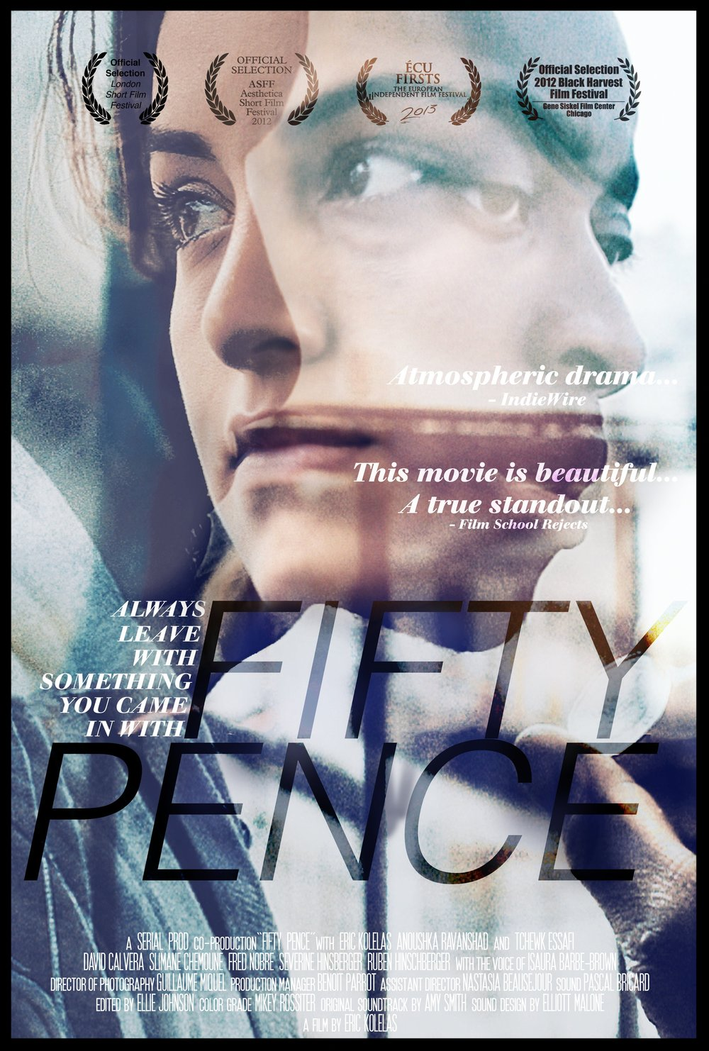 FIFTY PENCE - 13mins | Drama | UK/FranceDarren, a keen gambler, finds himself having to escort an unknown woman to the other side of Paris for a Mafioso. Struggling with the implications of his involvement in the affair, Darren is forced to reconsider his values.