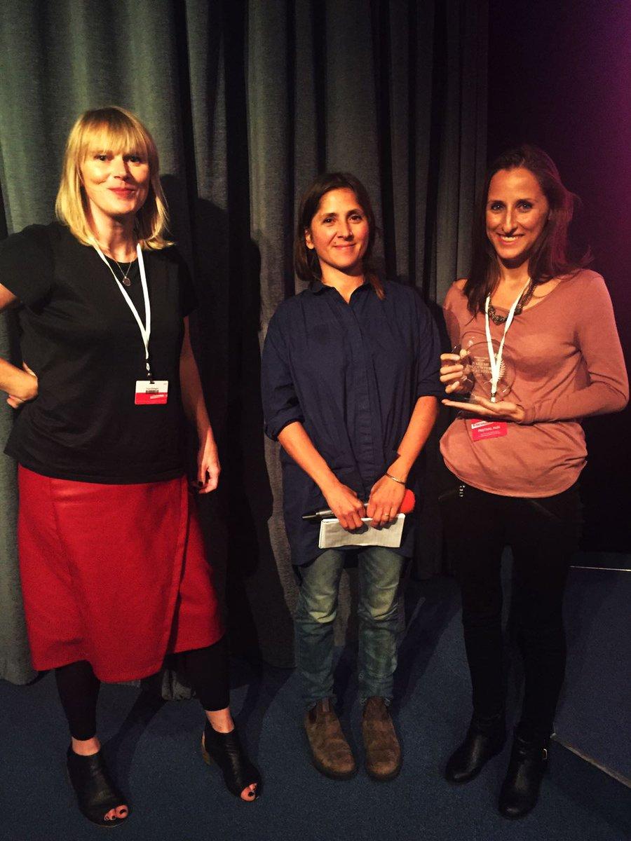 Producer Erin Phipps receiving the Nahemi Production Award.