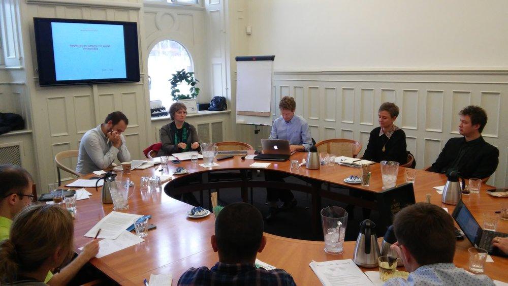 Latvijas, Igaunijas un Dānijas sociālās uzņēmējdarbības atbalsta organizāciju un valsts iestāžu tikšanās un pieredzes apmaiņas sesija.