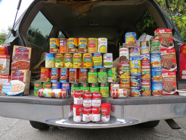 Canned food pays for parking and helps the community!