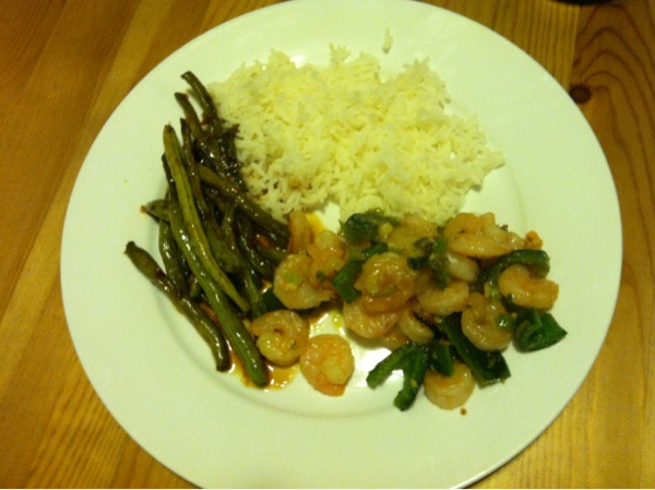 I paired the stir fry with steamed basmati rice and green beans.