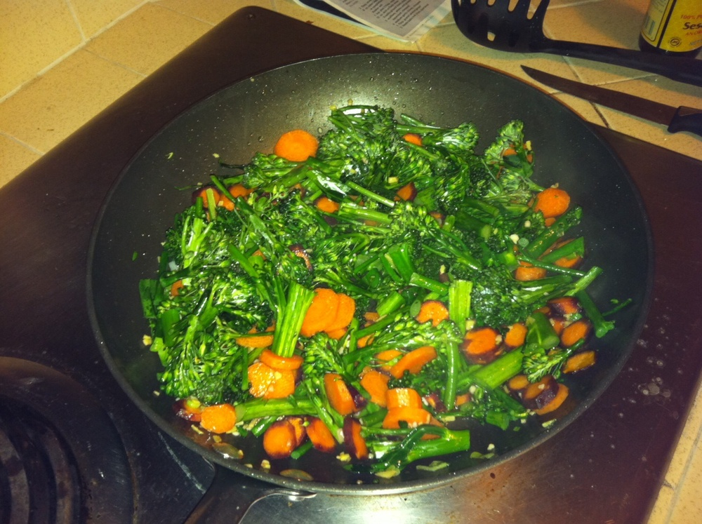 Veggies before adding noodles and steak