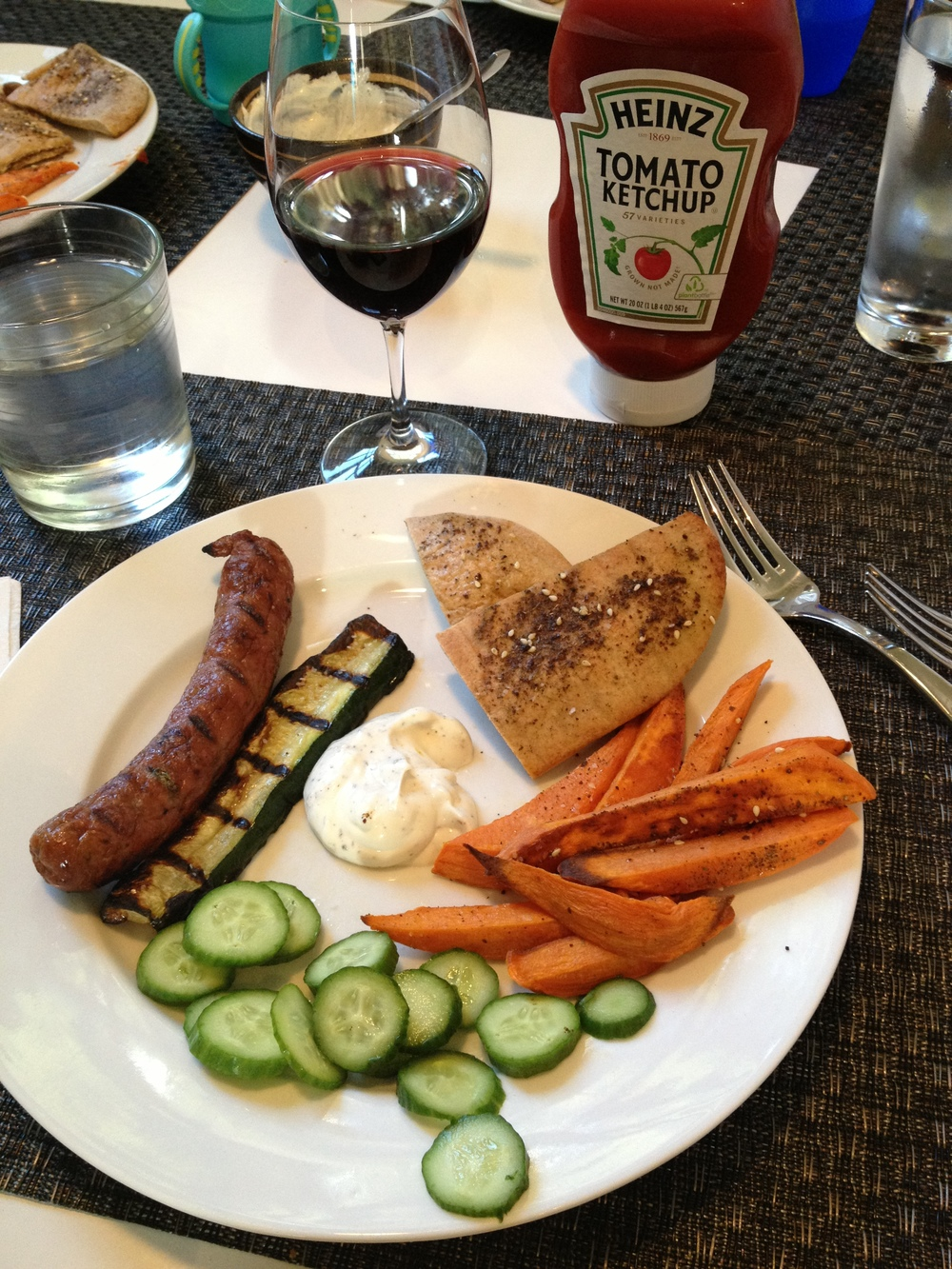 The ketchup makes the sweet potato fries a much easier sell . . .