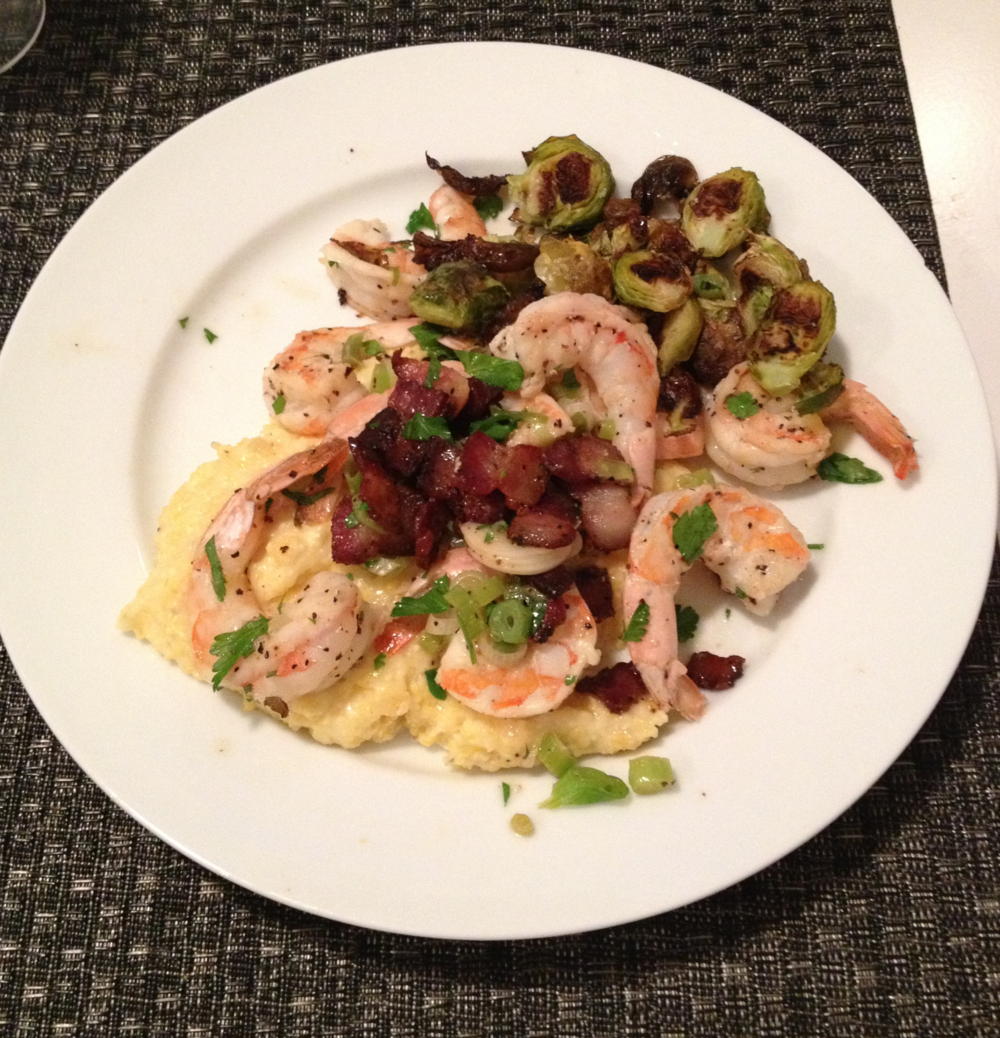 Bacony shrimp and grits with roasted brussels sprouts