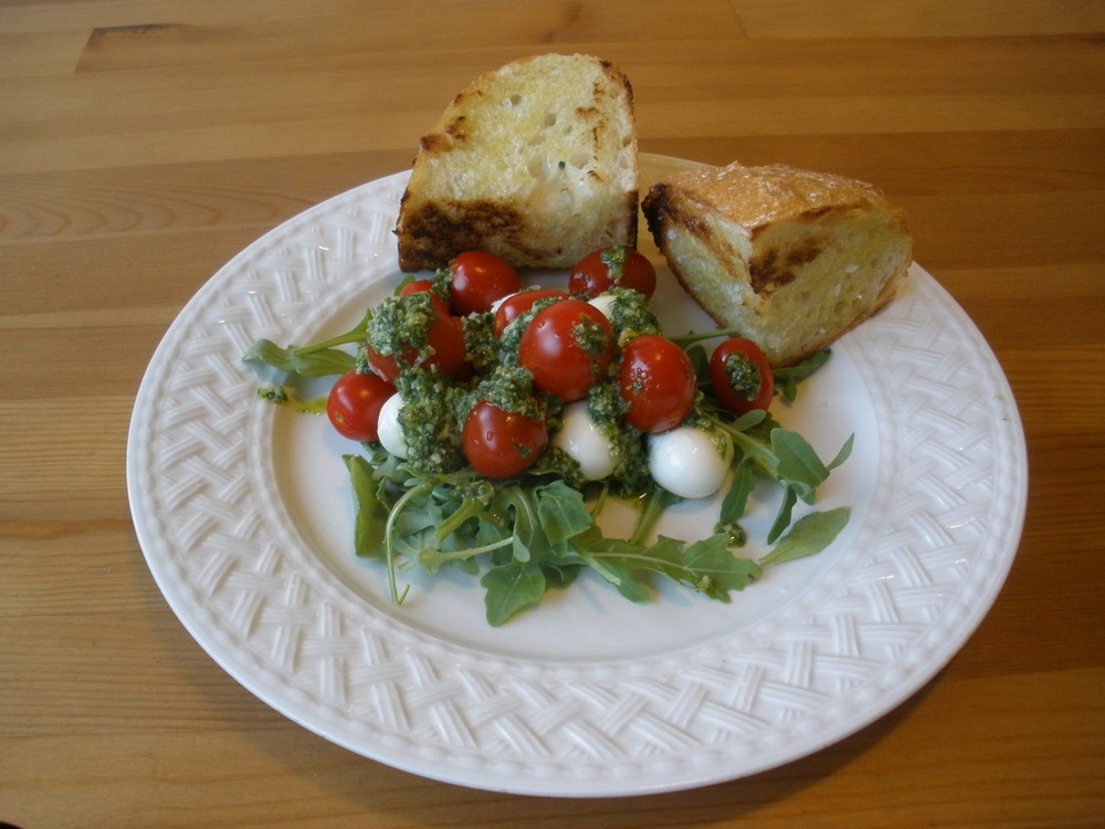 Caprese, grilled bread with olive oil and maldon sea salt.