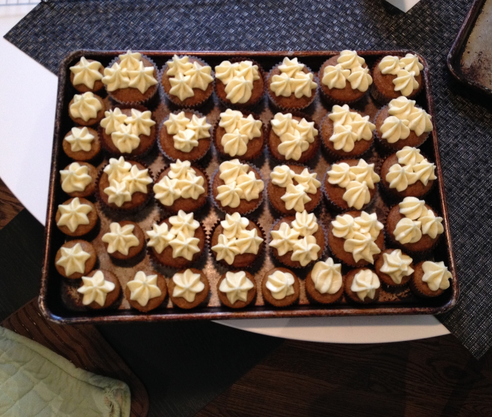 Tray of cupcakes ready for transport