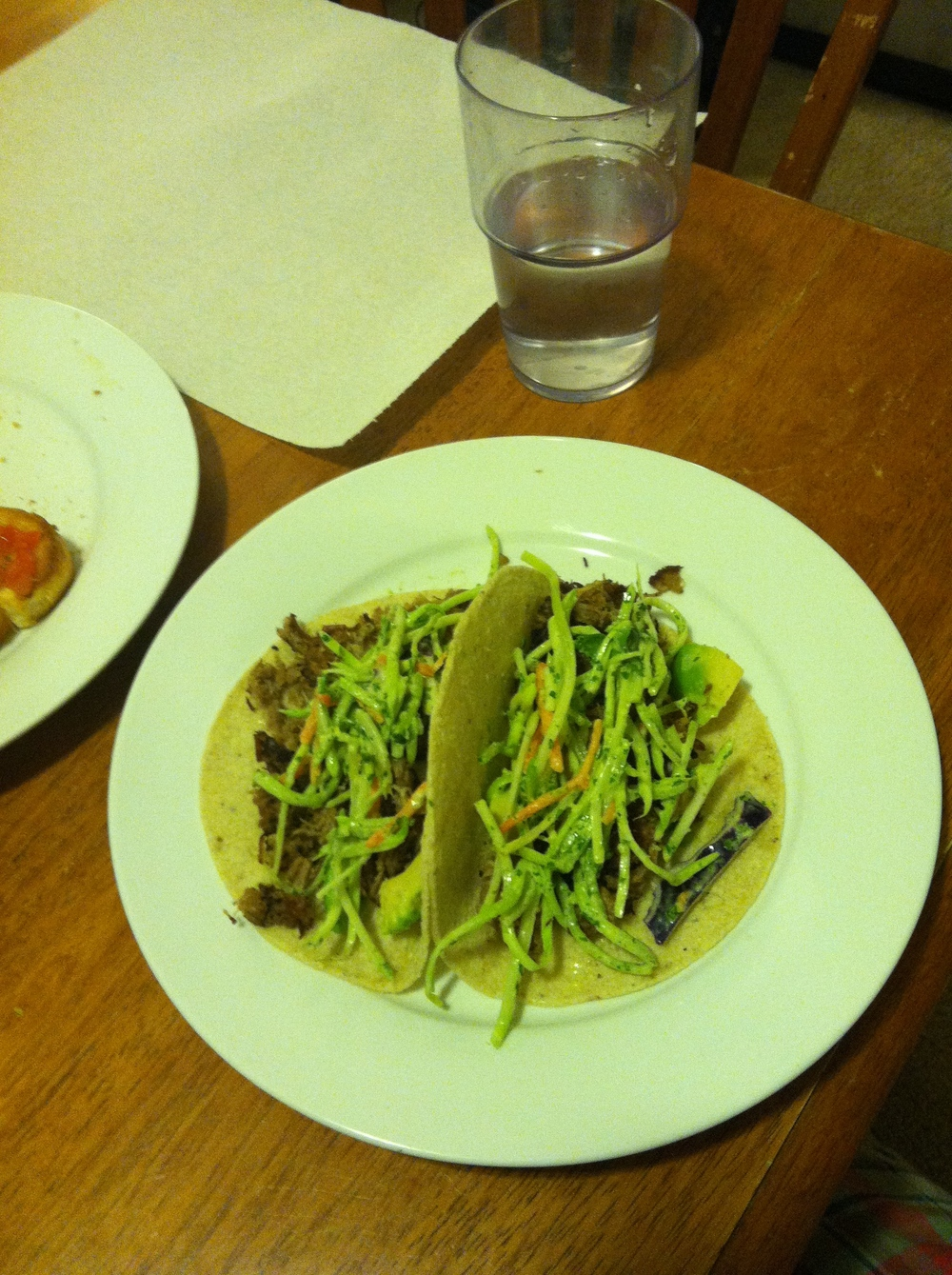 Served with broccoli slaw with cilantro dressing on tortillas