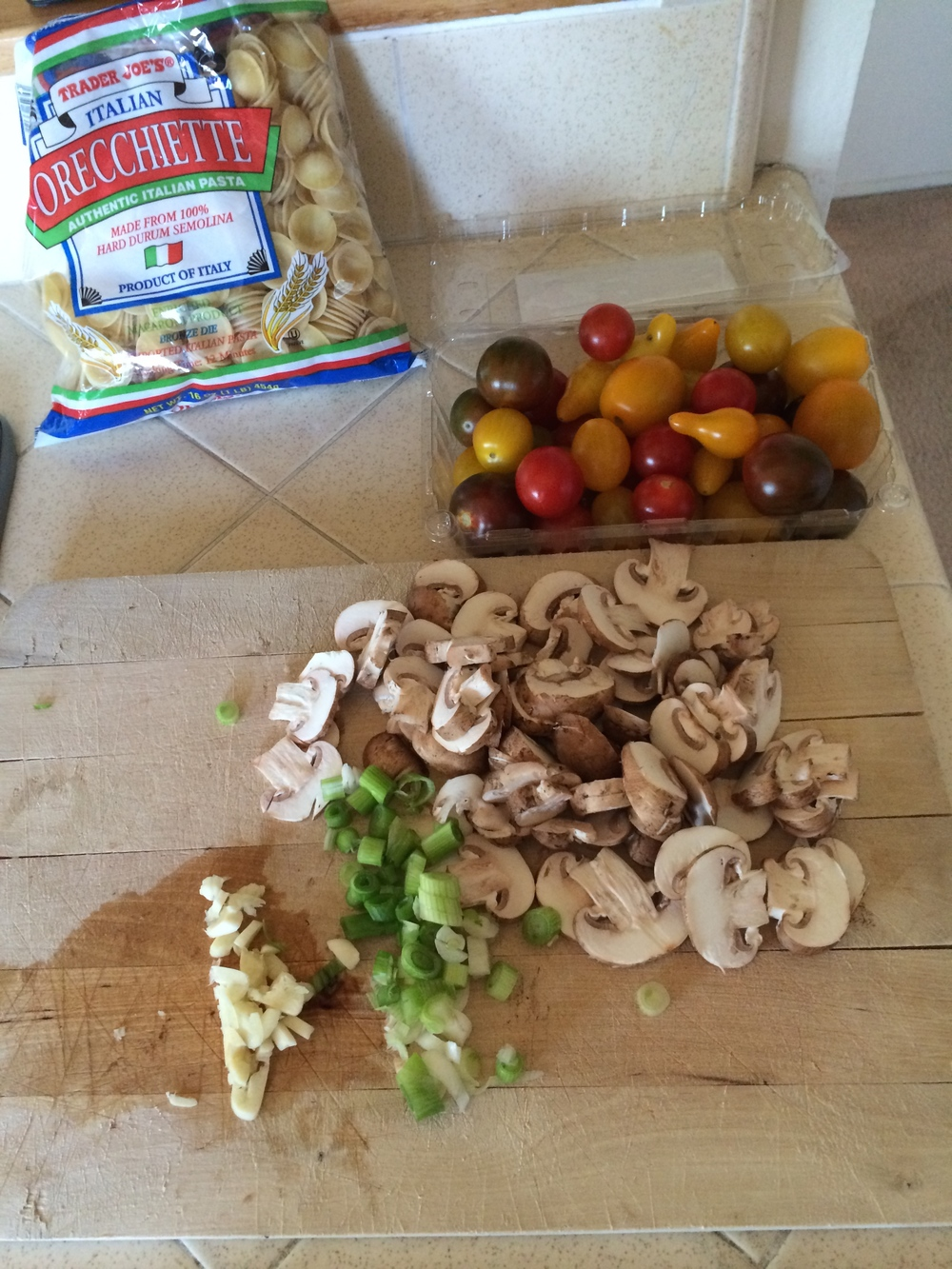 Chop all this up while the water is boiling for the pasta...