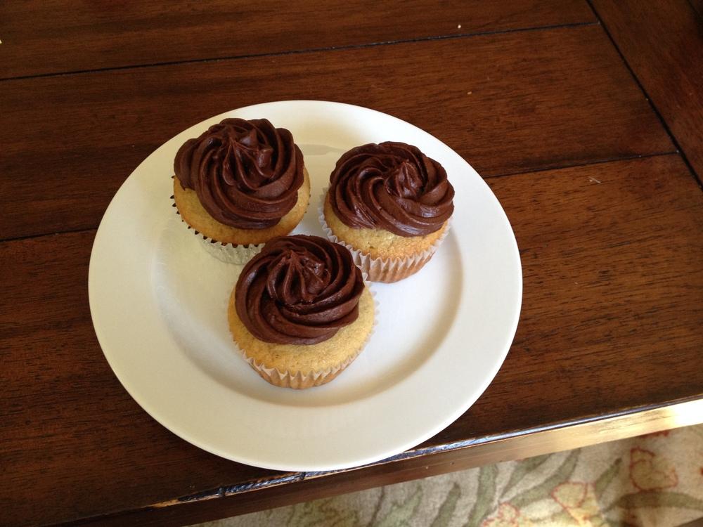 Chocolate meringue buttercream on banana cupcakes