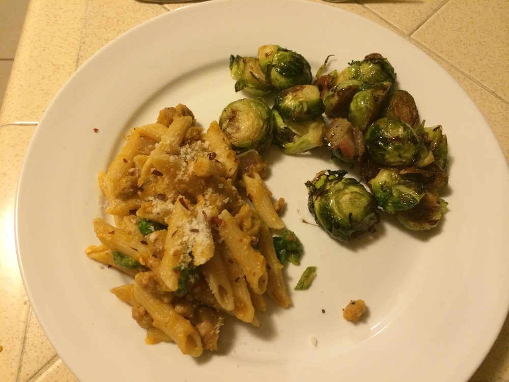 Served with roasted brussels sprouts and balsamic