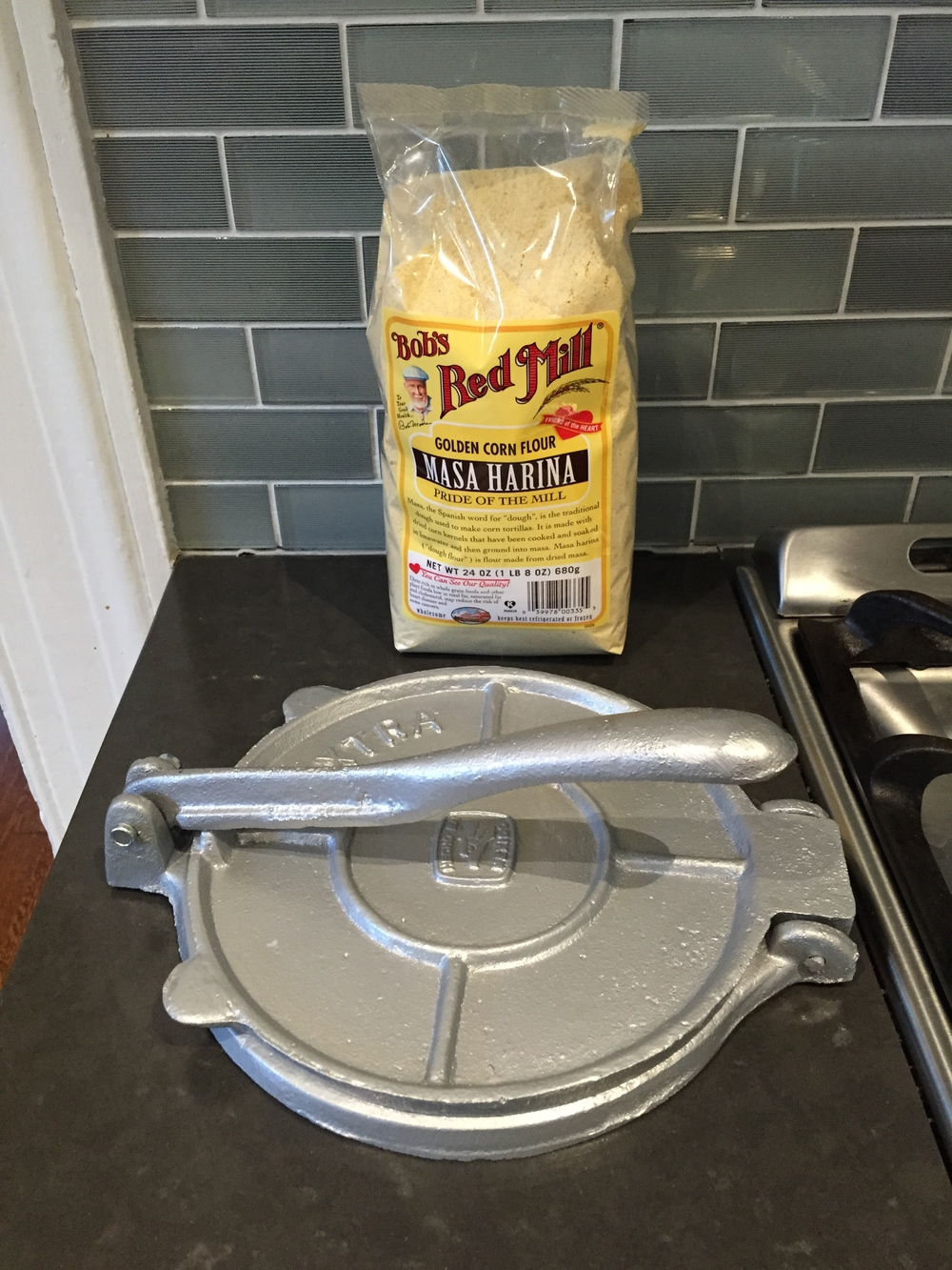 "Note that the tortilla press was ""hecho en Mexico""--we took that as a good sign"