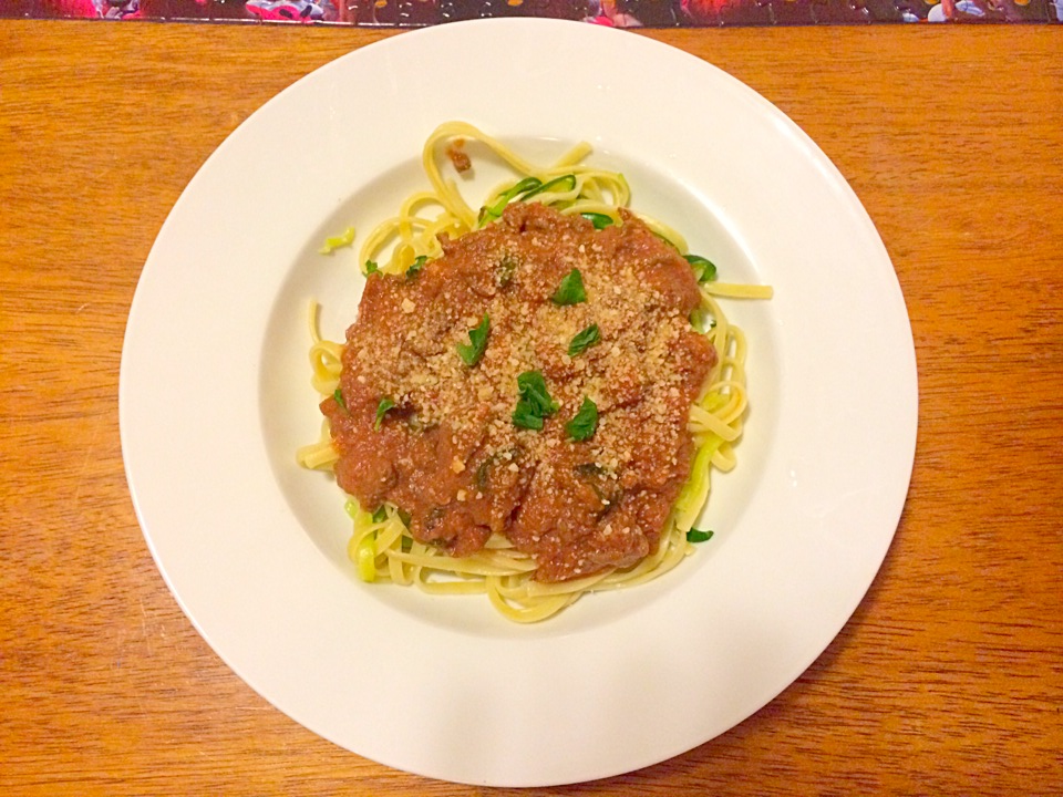 Half zucchini noodles, half linguini with Ina Garten's Bolognese.