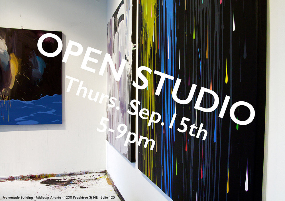 As I approach the last few months of my studio residency at the Promenade Building in Midtown Atlanta, I'm opening my doors for an open studio event and would love to have you over for a visit. Come see recent work, and enjoy some refreshments and light snackage. Thursday, September 15th 5:00pm - 9:00pm Ryan Coleman Studio 1230 Peachtree St NE Atlanta, GA 30309 Suite 125