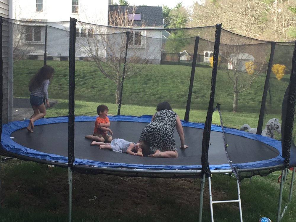 Me, Wally and the Dow kids goofing around in the trampoline monday night