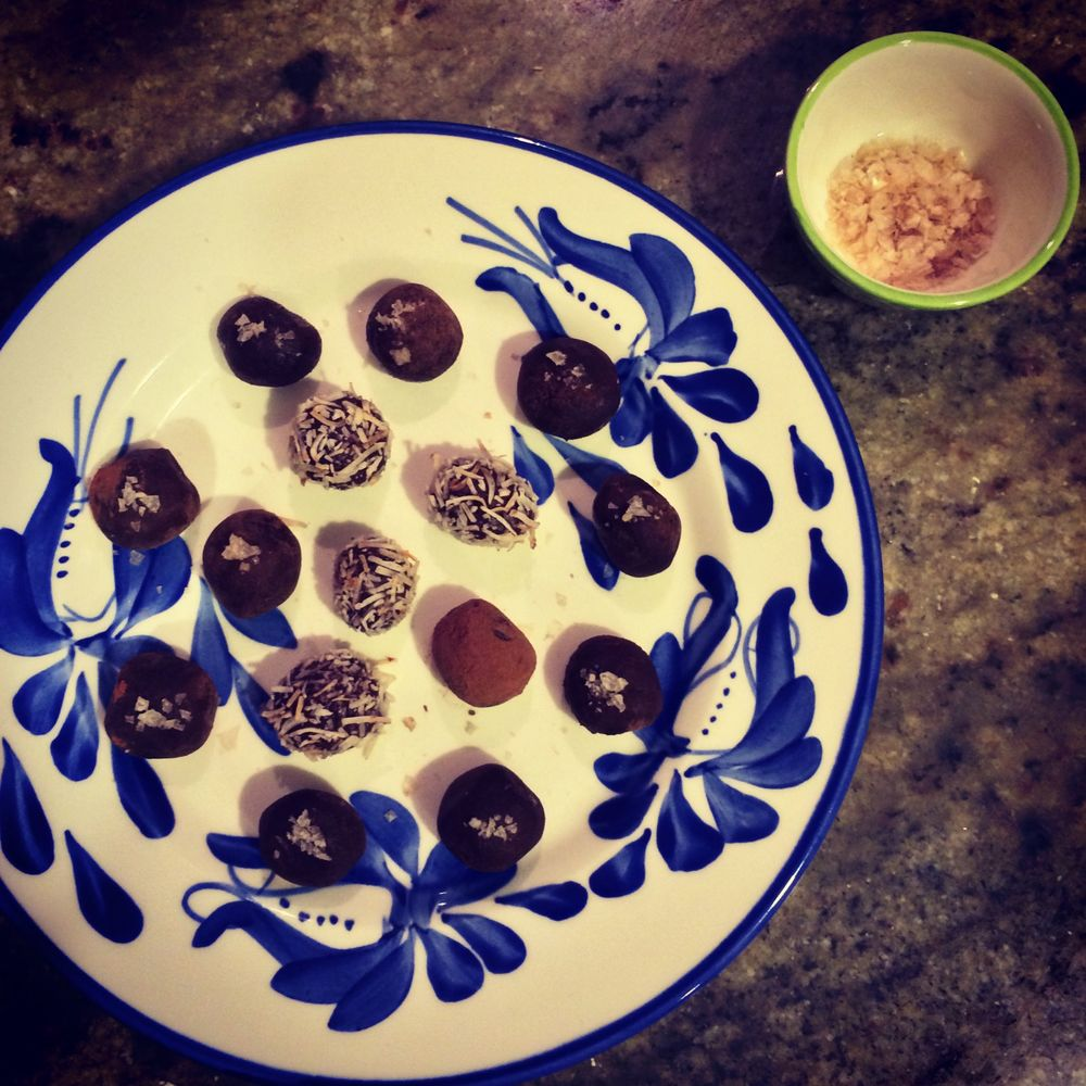 passionfruit truffles rolled in toasted coconut and dark chocolate truffles with smoked sea salt
