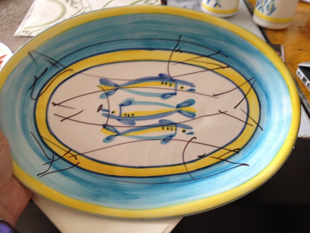 "We didn't love the first ""draft"" of the oval platter - here was Jose's Sharpie edits"